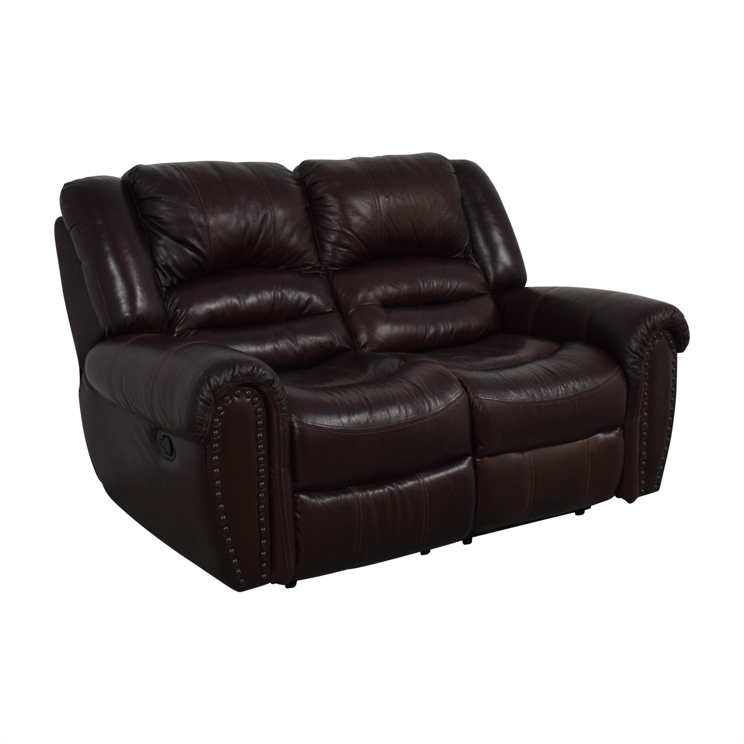 Double Recliner Chair 72 Off Raymour Flanigan Raymour Flanigan Brown Leather Double Reclining Loveseat Chairs