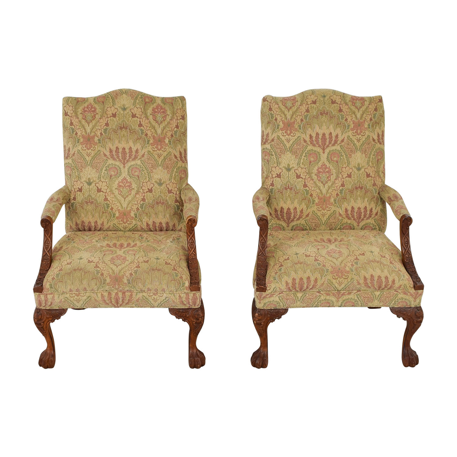 Sam Moore Chairs 80 Off Sam Moore Sam Moore Tibetan Tapestry Old World Finish Carved Wood Chairs Chairs