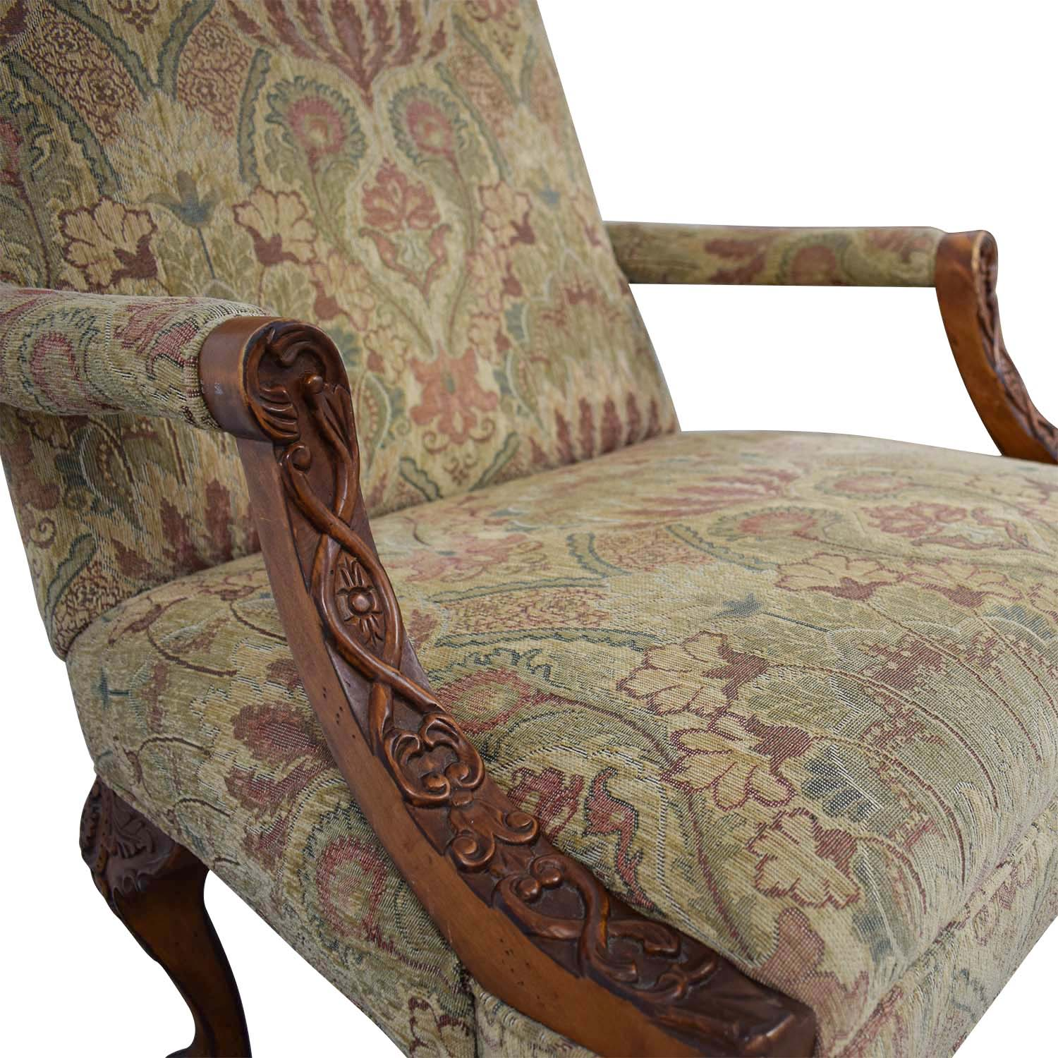 Wood Club Chair 80 Off Sam Moore Sam Moore Tibetan Tapestry Old World Finish Carved Wood Chairs Chairs