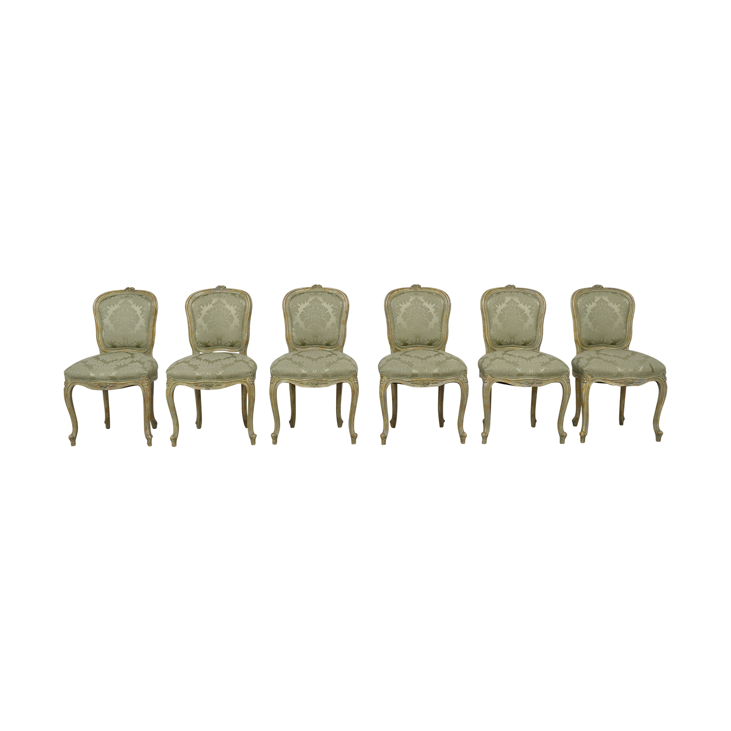 Damask Dining Chair 90 Off Devon Shops Devon Shop French Celery Damask Upholstered Dining Chairs Chairs