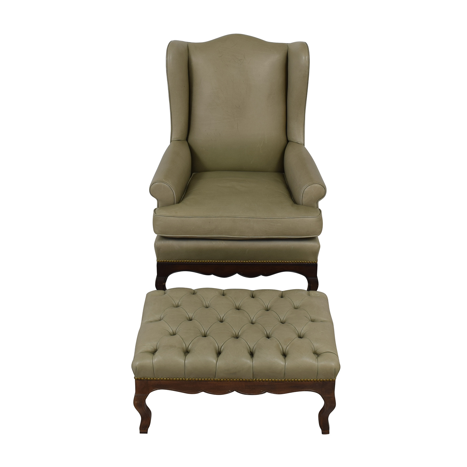 Wing Back Chairs 83 Off Green Leather Wing Back Chair With Tufted Ottoman Chairs