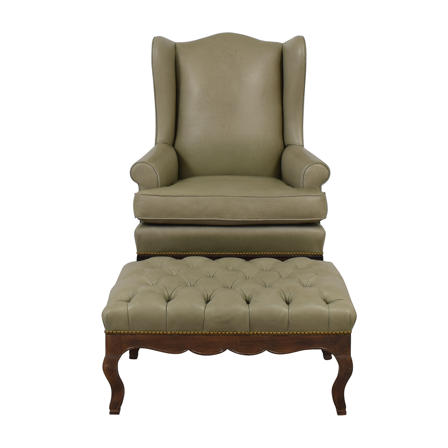 Wingback Tufted Chair 83 Off Green Leather Wing Back Chair With Tufted Ottoman Chairs
