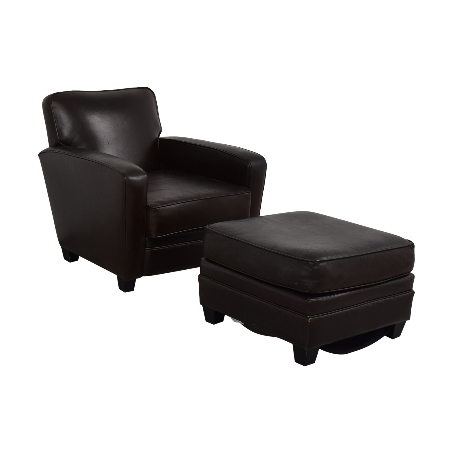 Discount Leather Chairs 86 Off Brown Leather Chair And Ottoman Chairs