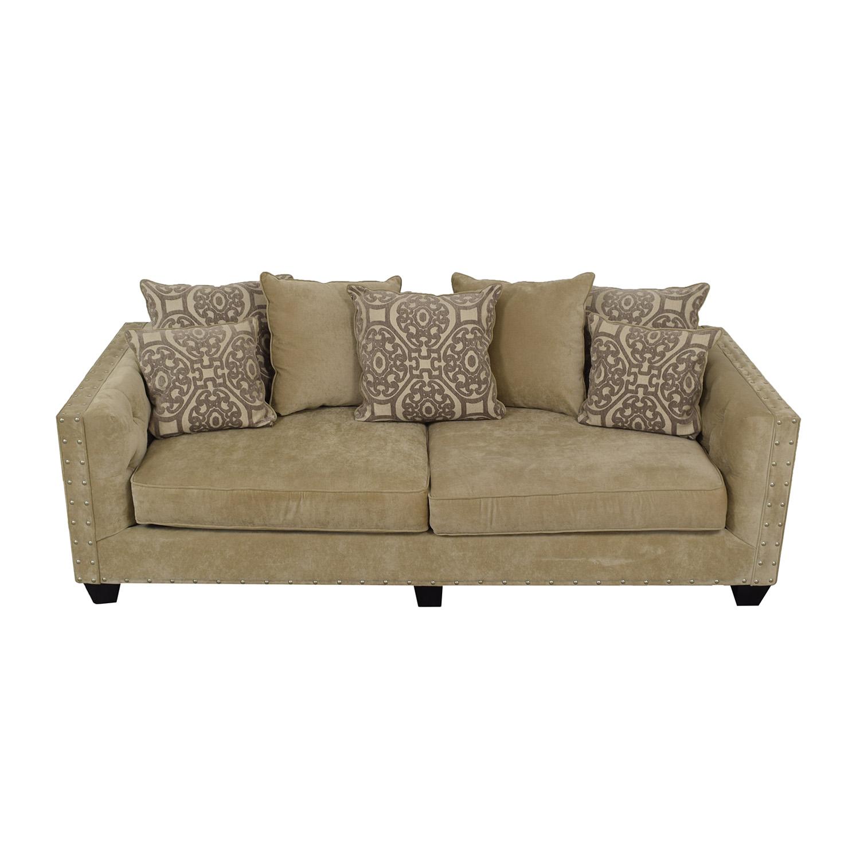 81 off raymour flanigan raymour flanigan cindy crawford calista beige microfiber sofa sofas