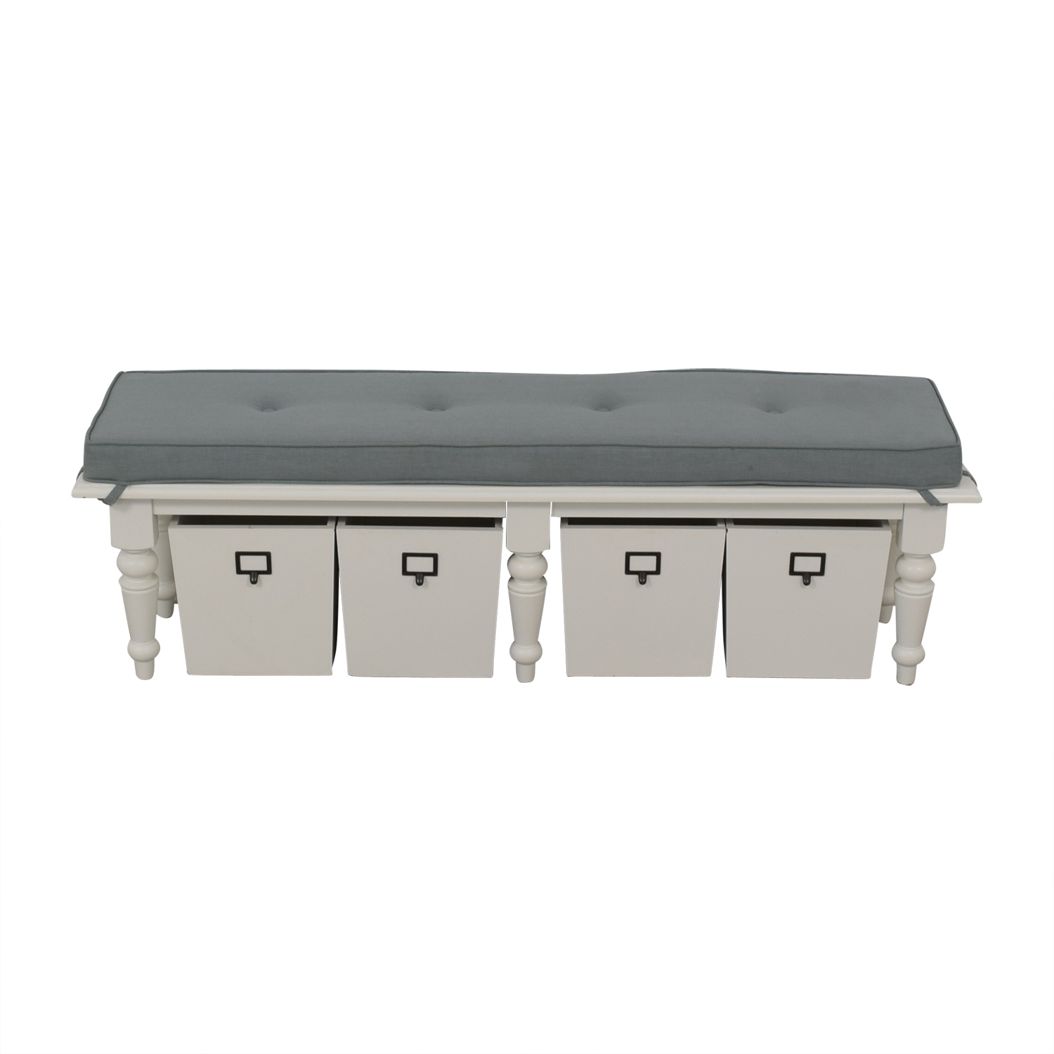 61 off homegoods home goods grey upholstered and white bench with four storage boxes chairs