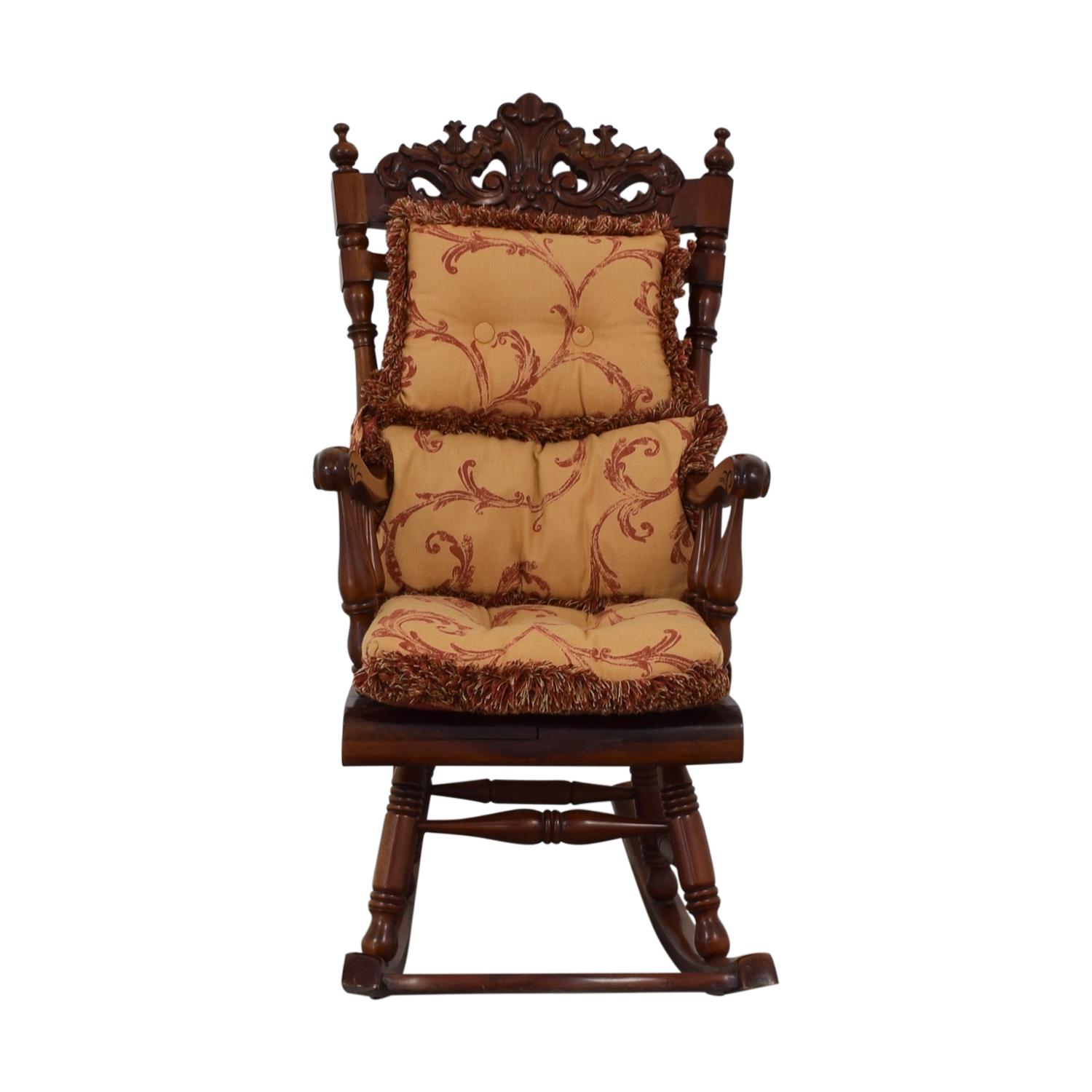 Rocking Accent Chairs 84 Off Carved Wood Rocking Chair With Cushions Chairs