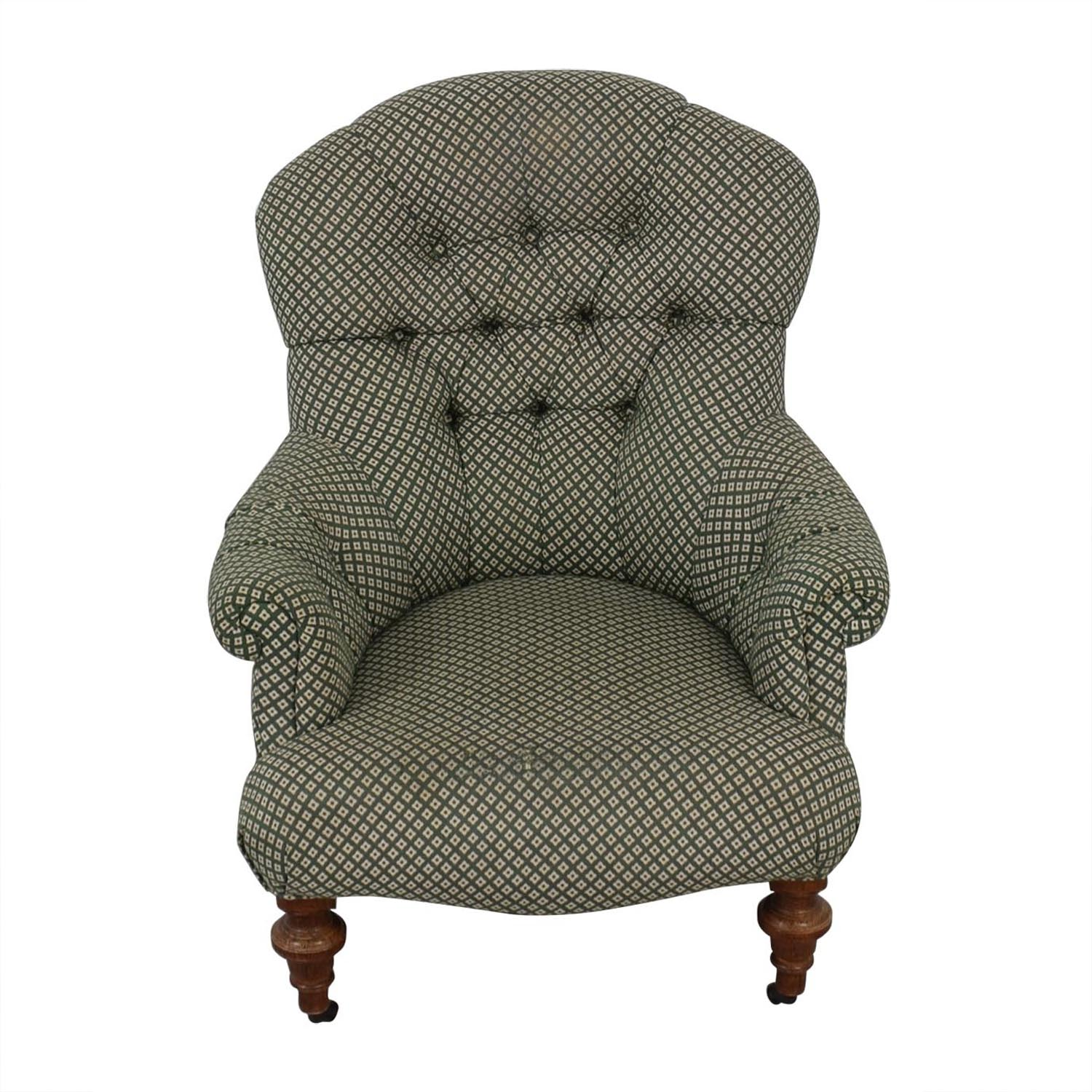 Tufted High Back Chair 70 Off Green And White Tufted High Back Armchair Chairs