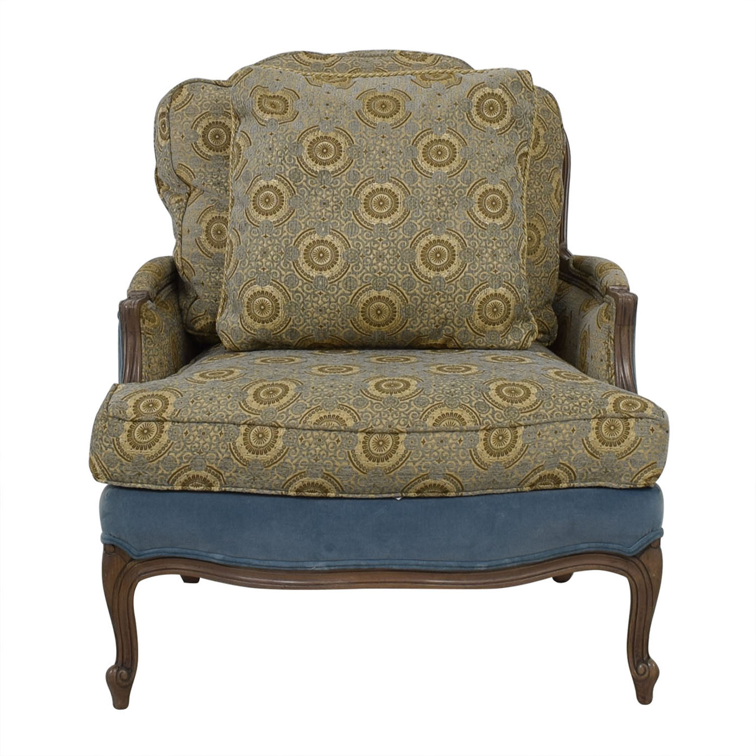 Ethan Allen Club Chairs 83 Off Ethan Allen Ethan Allen Blue And Beige Accent Chair Chairs