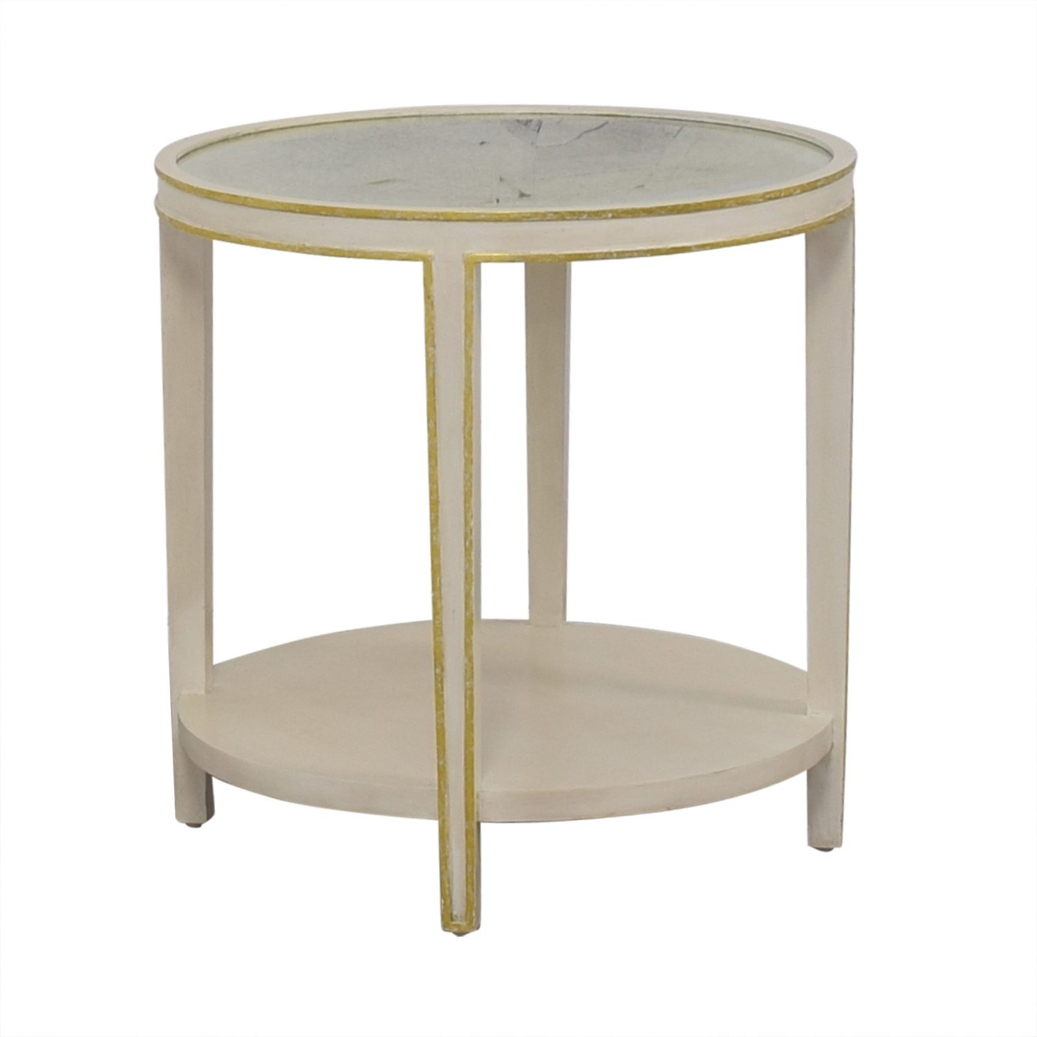 86 Off Oly Studio Oly Studio Christine Tall Round Side Table In Antiqued White Tables