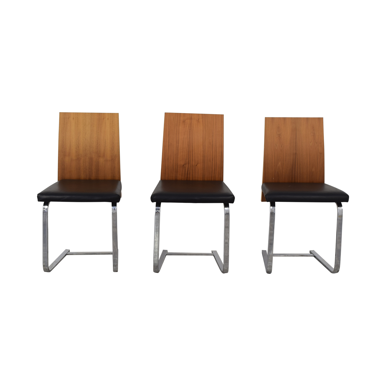 Black Leather Dining Chairs 60 Off Domitalia Domitalia Jeff Sl Chrome Black Leather And Wood Dining Chairs Chairs