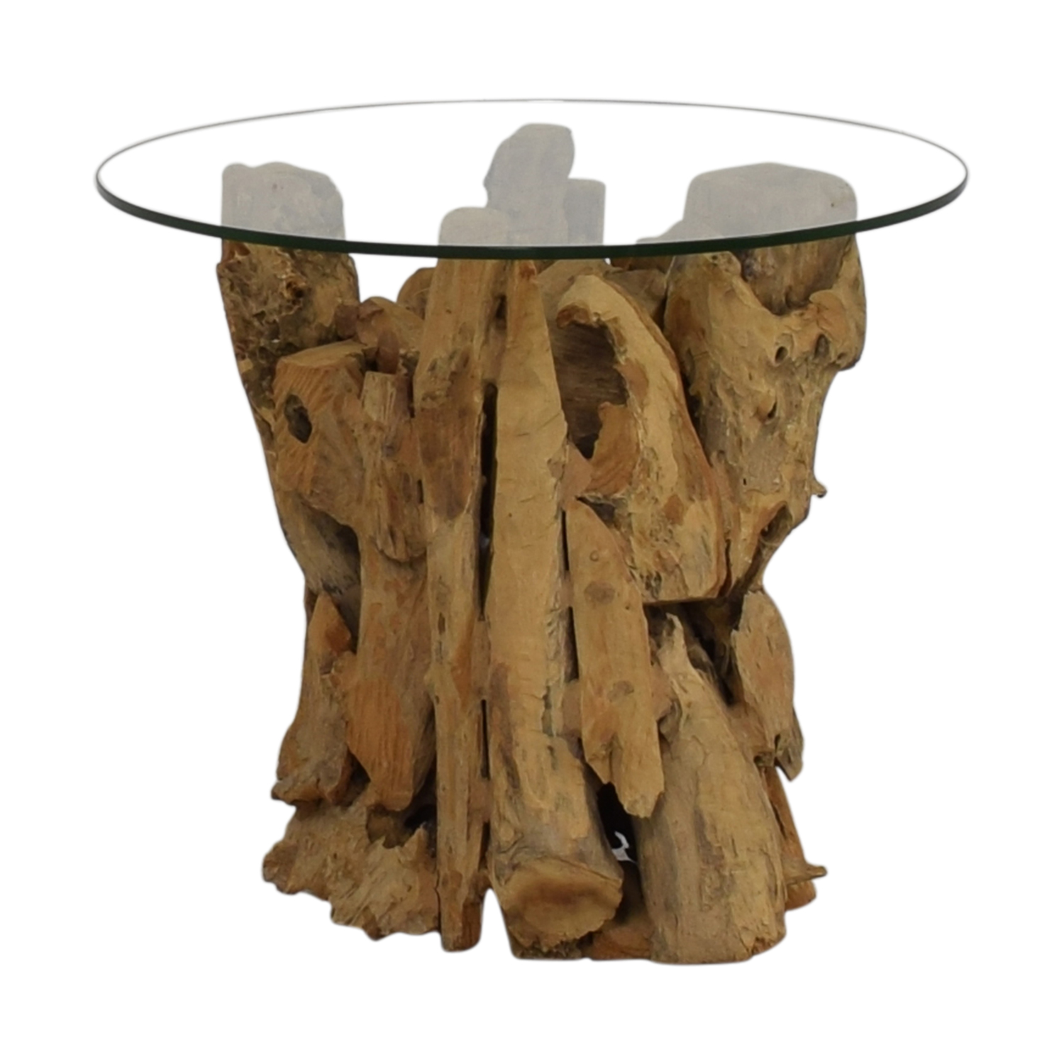 48 off crate barrel crate barrel driftwood end table with round glass top tables