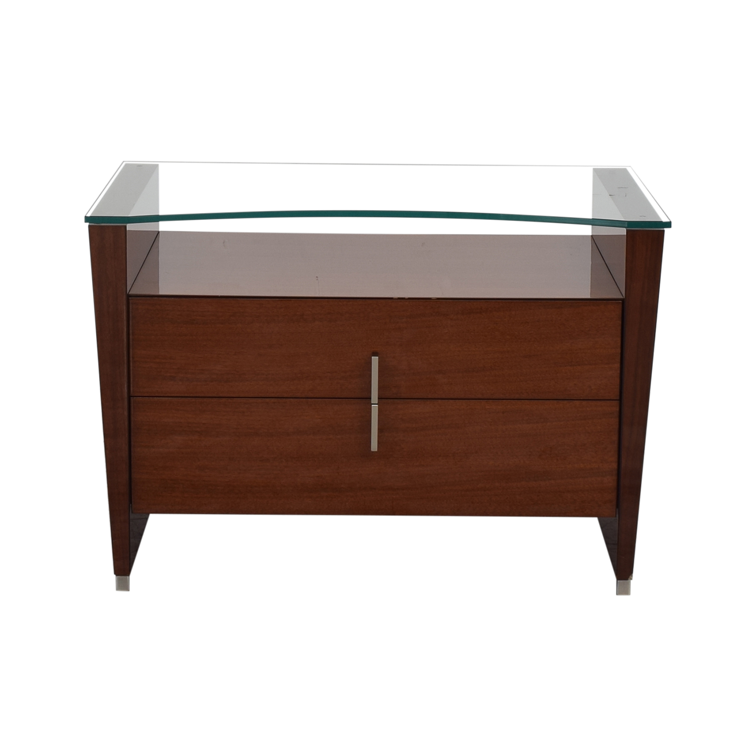 77 Off Dark Brown Nightstand With Transparent Shelf Tables