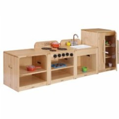 Solid Wood Toy Kitchen Small Rectangular Table Dramatic Play Units Premium Maple Toddler With Linking System