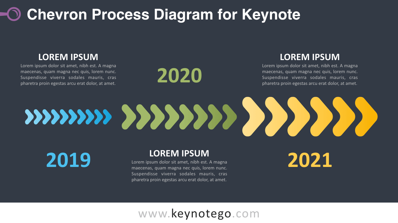 hight resolution of chevron process keynote template dark background