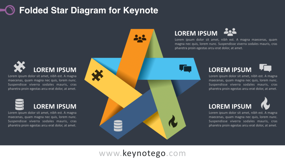 medium resolution of folded star keynote template dark background