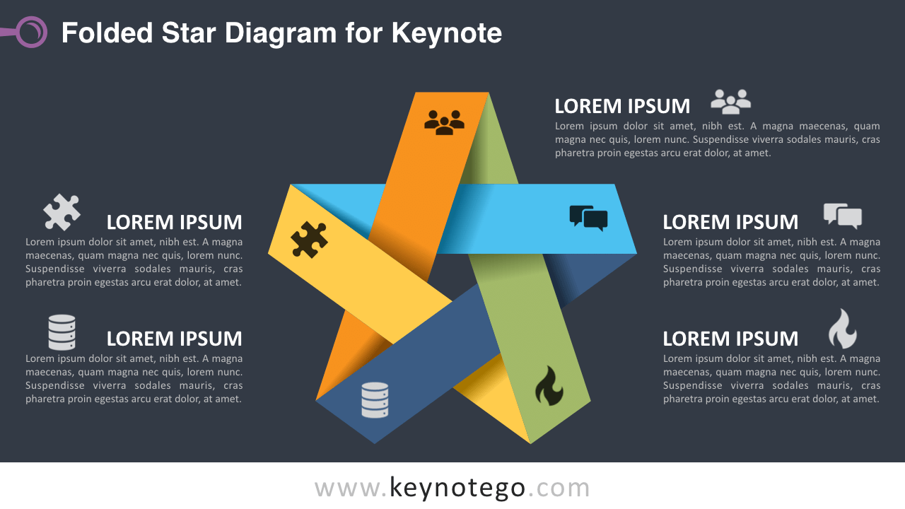 hight resolution of folded star keynote template dark background