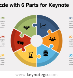 cycle puzzle 6 parts keynote template [ 1280 x 720 Pixel ]