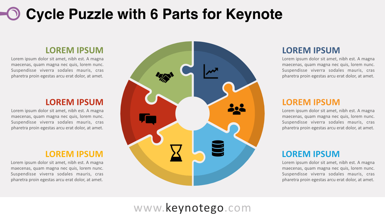 hight resolution of cycle puzzle 6 parts keynote template