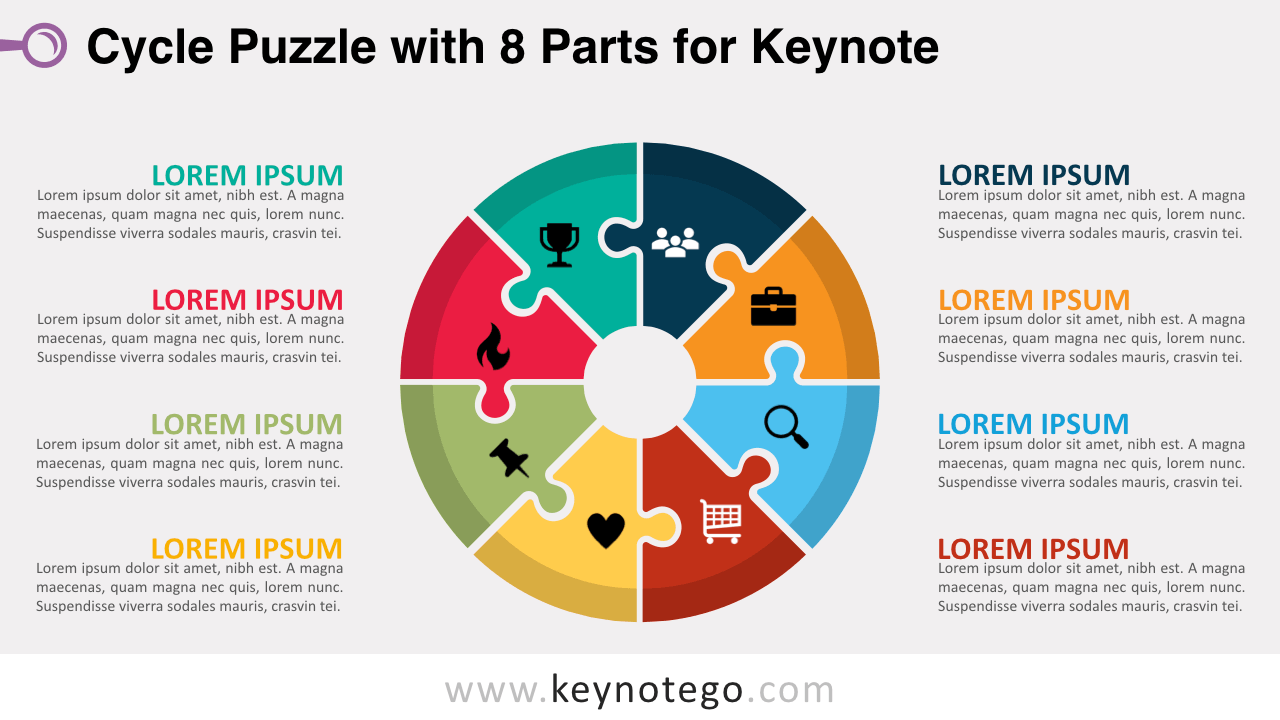 hight resolution of cycle puzzle 8 parts keynote template