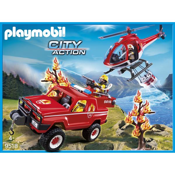 9518 Hlicoptre Et 4x4 De Pompiers Playmobil King Jouet