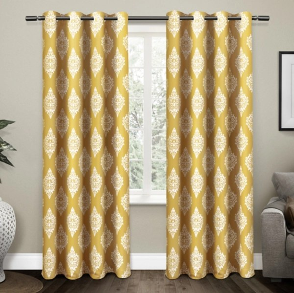 gold medallion curtain panel set 96 in