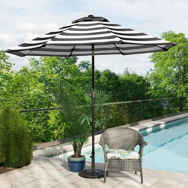 black and white stripe patio umbrella