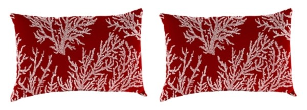 sea coral red outdoor accent pillows set of 2