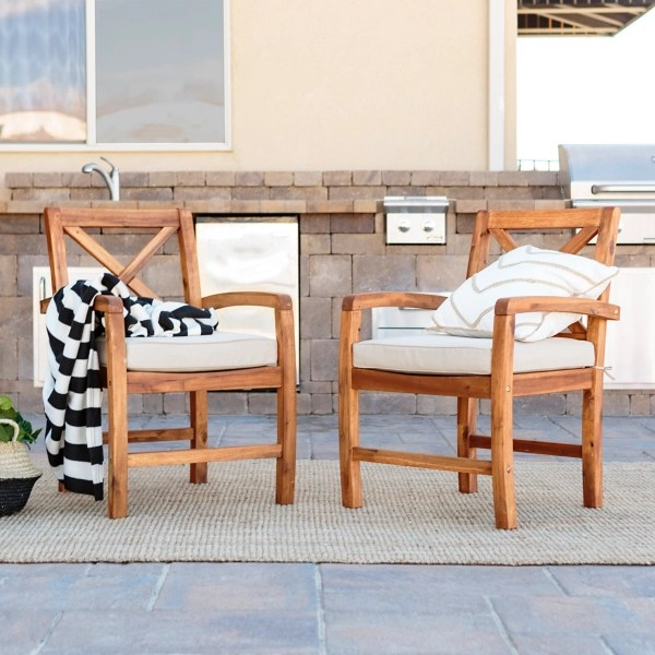 x back acacia wood patio chairs set of 2