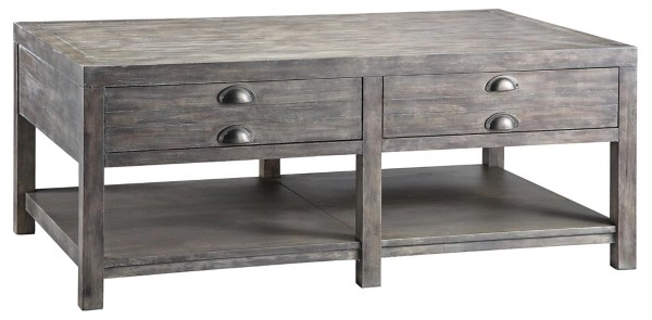 rectangular weathered gray coffee table