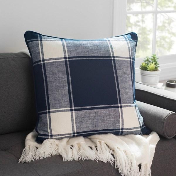 navy large plaid pillow