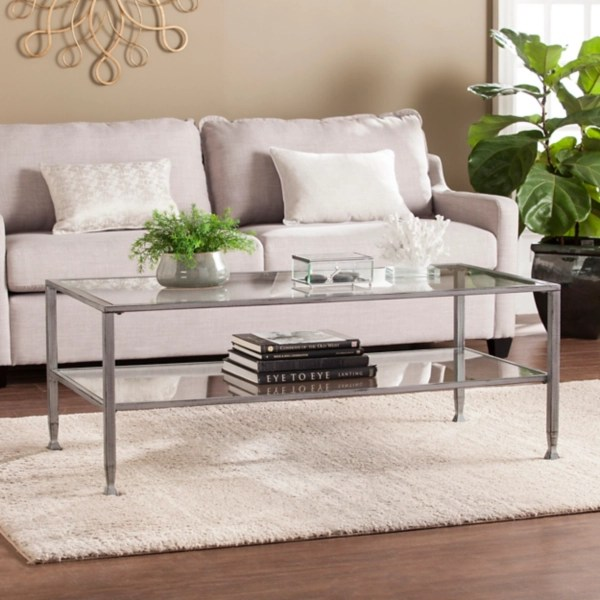 mara glass and silver metal coffee table