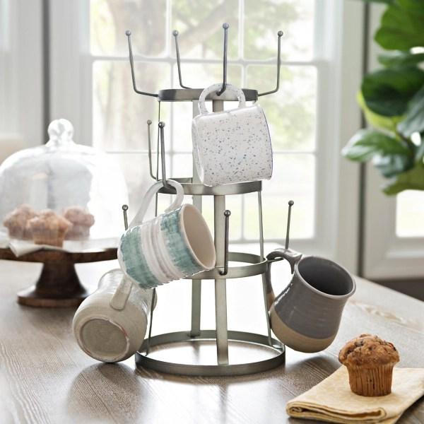 galvanized metal mug holder