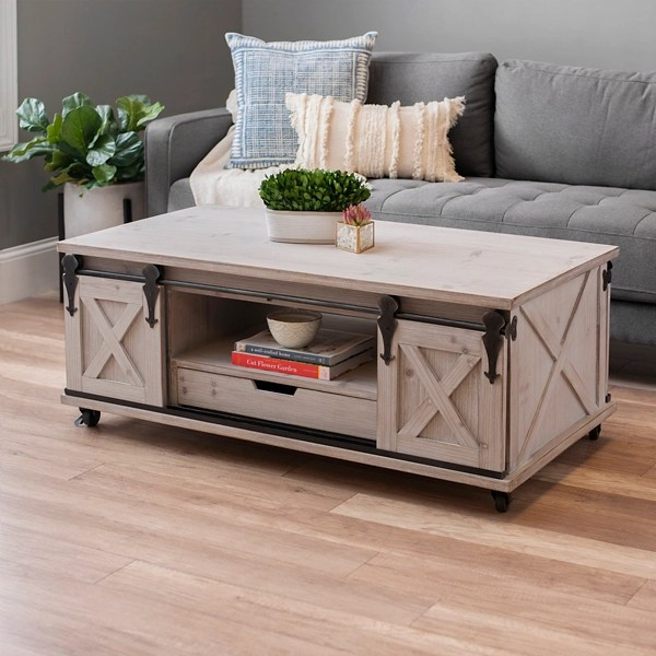 gray finished farmhouse sliding door coffee table