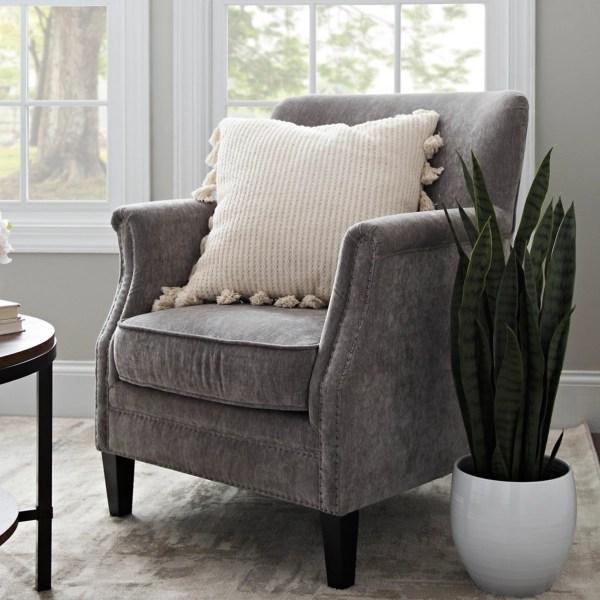 lillian gray velvet nailhead accent chair