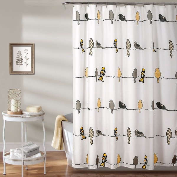 yellow and gray birds rowley shower curtain