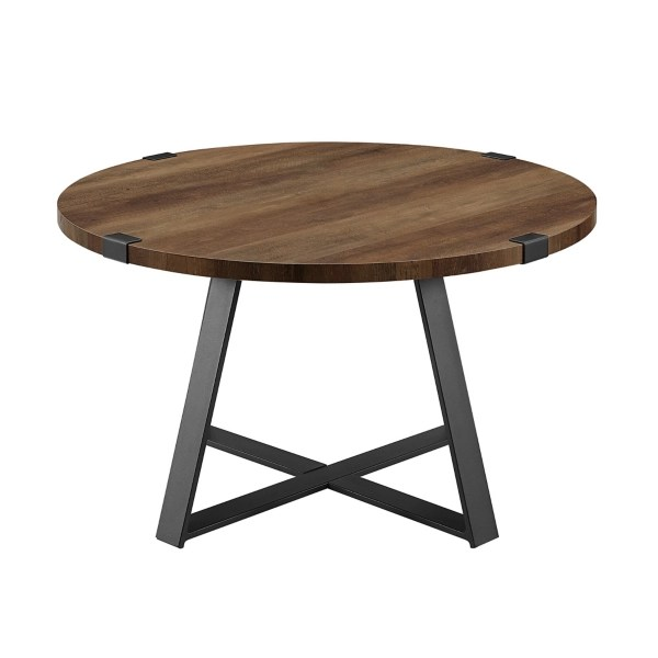 oak urban rustic round coffee table