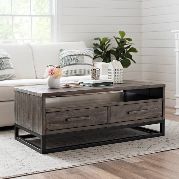 weathered gray coffee table with modern base