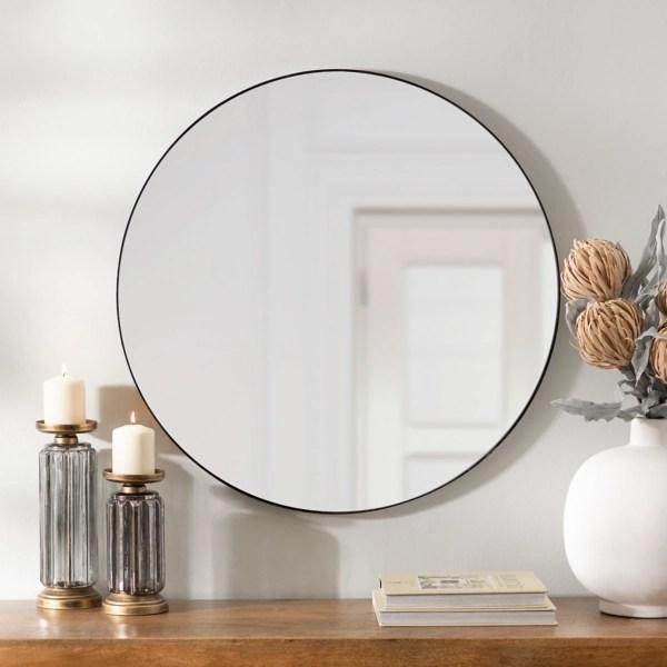 round black metal mirror 30 in