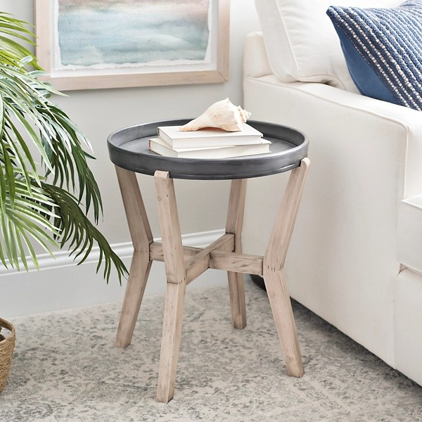 tray top black and natural large side table