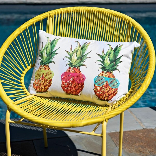 pineapples with sunglasses outdoor accent pillow