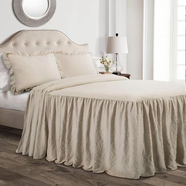 tan ruffle skirt 3 pc queen comforter set