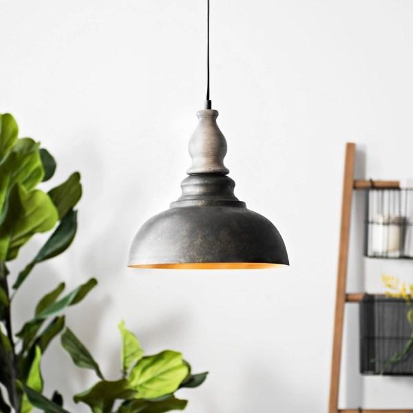 antique gray and bronze rustic pendant light