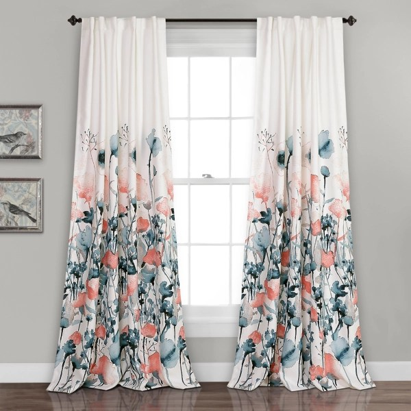 coral zoe floral curtain panel set 95 in