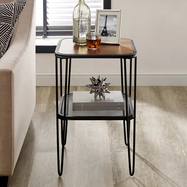 dark walnut mid century modern accent table