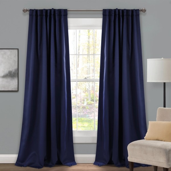 navy back tab blackout curtain panel set 84 in