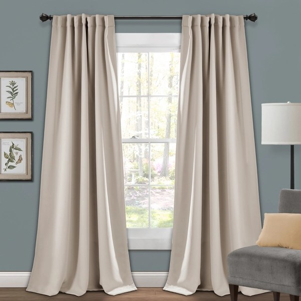 wheat back tab blackout curtain panel set 95 in