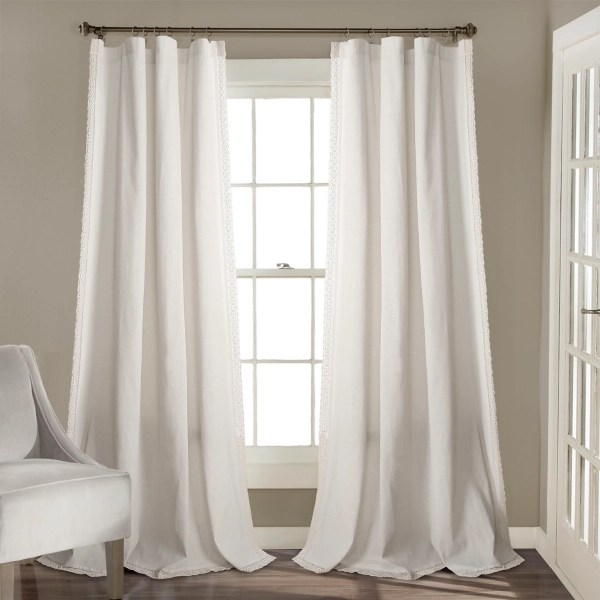 white rosalie lace curtain panel set 108 in