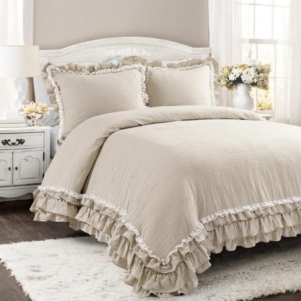 beige shabby chic ruffle 3 pc king comforter set