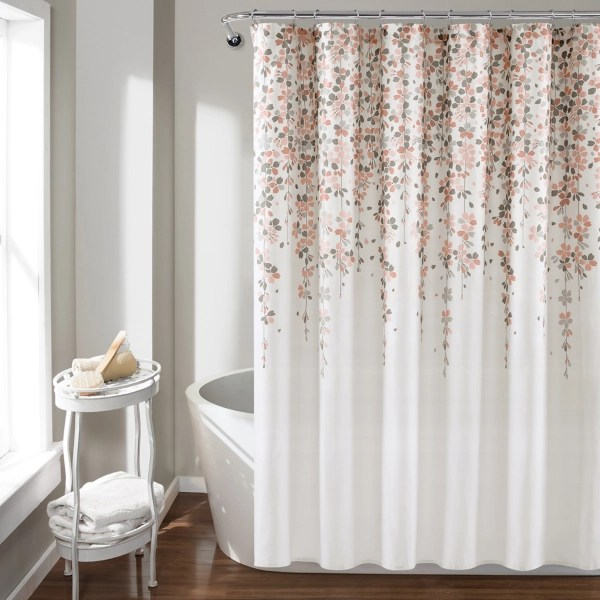 blush and gray weeping flower shower curtain