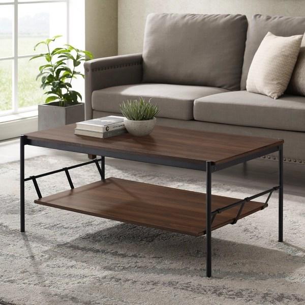 dark walnut coffee table with hammock shelf